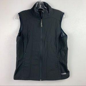 REI Women's Solid Black Vest Full Zip Pockets L